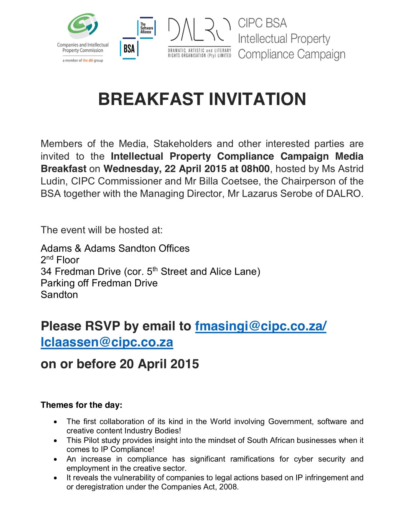 Intellectual Property Compliance Campaign Media Breakfast Invitation